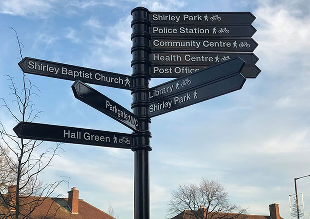 signpost of places near to shirley